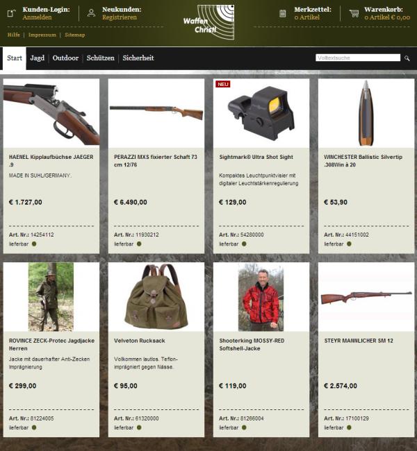 Onlineshop Waffen